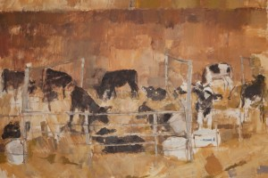 """Calves, Two to Six Weeks Old   2010  oil on canvas  52x42"""""""